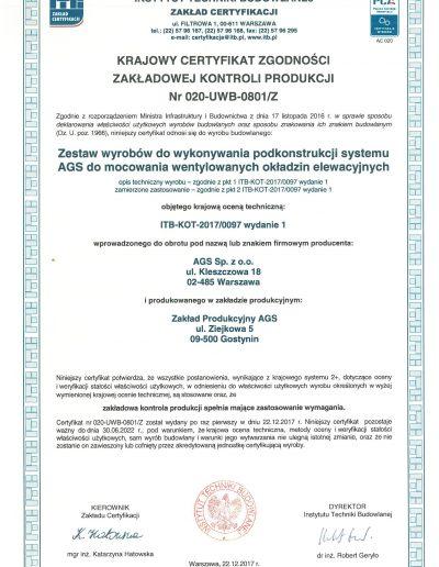 Certyfikat AGS 2017-1