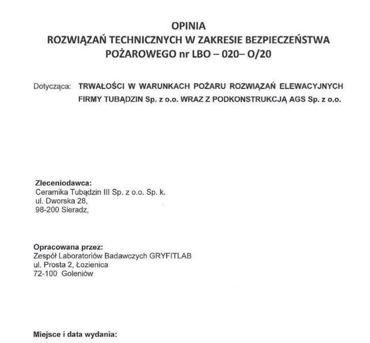 Opinia techniczna dla systemu elewacji Tubądzin – AGS
